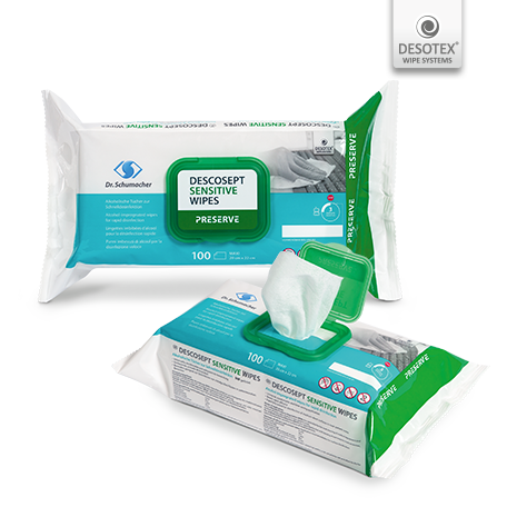 Descosept Sensitiv Wipes, Schnelldesinfektiontücher, 100 Stk/Pack